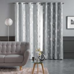 Rideau a oeillets 140 x 260 cm polyester imprime metallise tinette Blanc/Argent