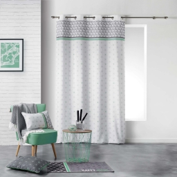 Rideau a oeillets 140 x 260 cm polyester imprime mirade Menthe