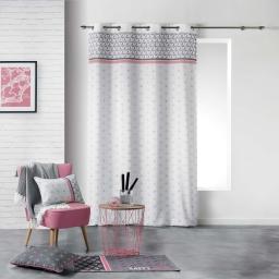 Rideau a oeillets 140 x 260 cm polyester imprime mirade Rose