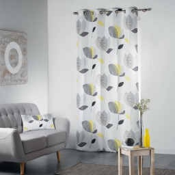 Rideau a oeillets 140 x 260 cm polyester imprime mylae Jaune
