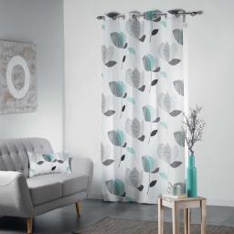 Rideau a oeillets 140 x 260 cm polyester imprime mylae Menthe