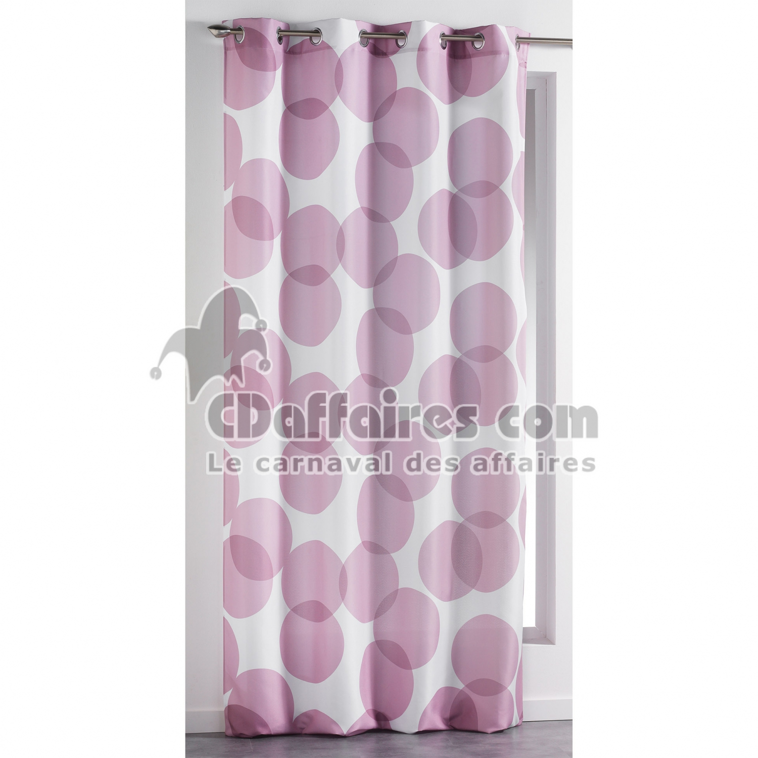 rideau a oeillets 140 x 260 cm polyester imprime reflecto rose cdaffaires. Black Bedroom Furniture Sets. Home Design Ideas