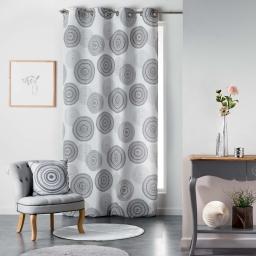 Rideau a oeillets 140 x 260 cm polyester imprime romana Noir/Blanc