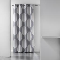 Rideau a oeillets 140 x 260 cm polyester imprime tempo Naturel