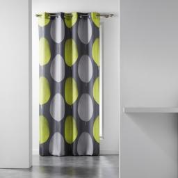 Rideau a oeillets 140 x 260 cm polyester imprime tempo Vert