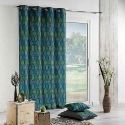 Rideau a oeillets 140 x 260 cm polyester imprime winter green Bleu