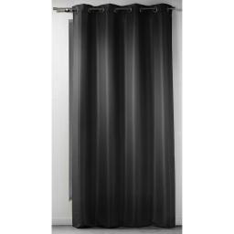 Rideau a oeillets 140 x 260 cm polyester uni punchy Noir