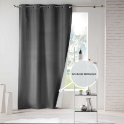 Rideau a oeillets 140 x 260 cm polyester uni thermique icemount Anthracite