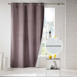 Rideau a oeillets 140 x 260 cm polyester uni thermique icemount Taupe