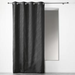Rideau a oeillets 140 x 260 cm shantung applique scintille Noir