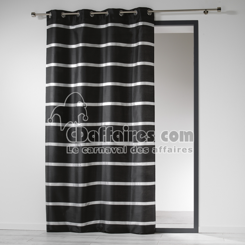 rideau a oeillets 140 x 260 cm shantung bandes argent link noir cdaffaires. Black Bedroom Furniture Sets. Home Design Ideas