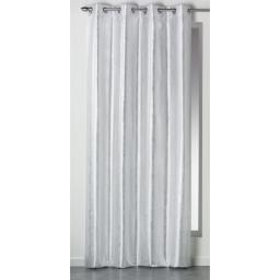 Rideau a oeillets 140 x 260 cm shantung imprime argent steel Blanc