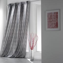 Rideau a oeillets 140 x 260 cm shantung imprime argent steel Noir
