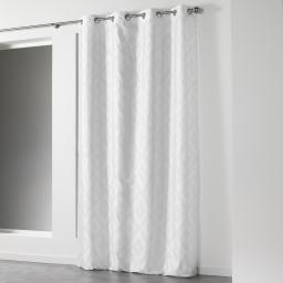 Rideau a oeillets 140 x 260 cm shantung imprime lenox Blanc/Argent