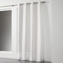 Rideau a oeillets 140 x 260 cm shantung imprime lenox Blanc/Cuivre