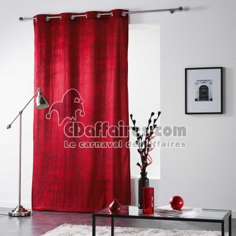 Rideau a oeillets 140 x 260 cm velours imprime verona Rouge - CDAffaires