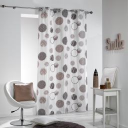 Rideau a oeillets 140 x 280 cm coton imprime romy Naturel