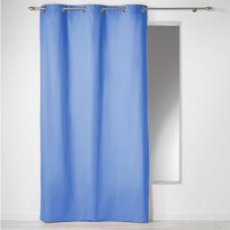 Rideau a oeillets 140 x 280 cm coton uni panama Azur
