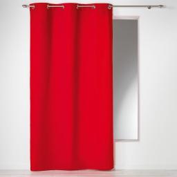 Rideau a oeillets 140 x 280 cm coton uni panama Rouge