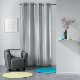 Rideau a oeillets 140 x 280 cm polyester imprime analea Noir/Blanc