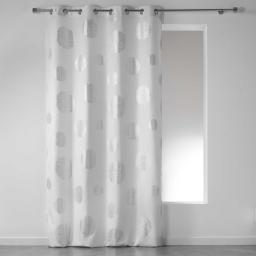 Rideau a oeillets 140 x 280 cm polyester imprime argent artifice Blanc