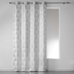 Rideau a oeillets 140 x 280 cm polyester imprime argent frosty Blanc