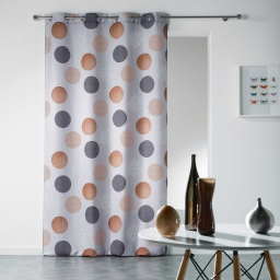 Rideau a oeillets 140 x 280 cm polyester imprime odaly Cuivre