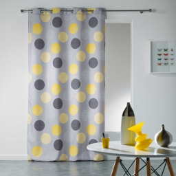 Rideau a oeillets 140 x 280 cm polyester imprime odaly Jaune