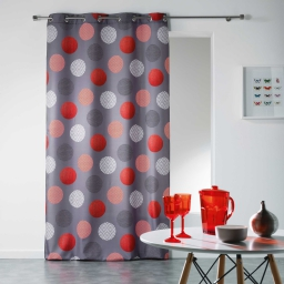 Rideau a oeillets 140 x 280 cm polyester imprime odaly Rouge