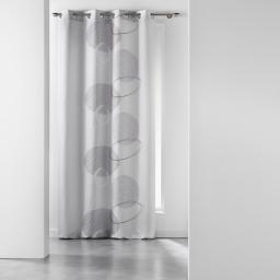 Rideau a oeillets 140 x 280 cm polyester imprime spirale Gris