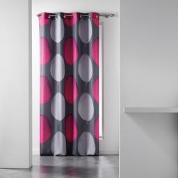 Rideau a oeillets 140 x 280 cm polyester imprime tempo Fuchsia