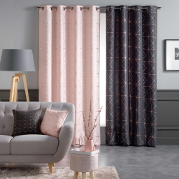 Rideau a oeillets 140x260 cm polyester imp. metallise quadris Anthracite/Or rose