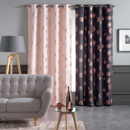 Rideau a oeillets 140x260 cm polyester imp. metallise tinette Anthracite/Or rose