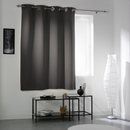 Rideau a oeillets carres 140 x 180 cm occultant uni cocoon Anthracite