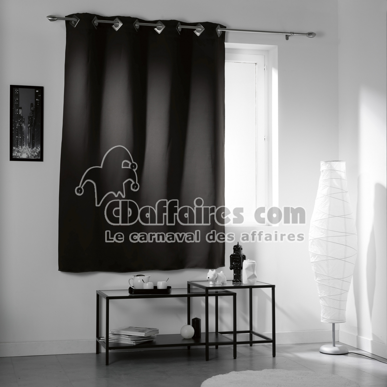 rideau a oeillets carres 140 x 180 cm occultant uni cocoon noir cdaffaires. Black Bedroom Furniture Sets. Home Design Ideas