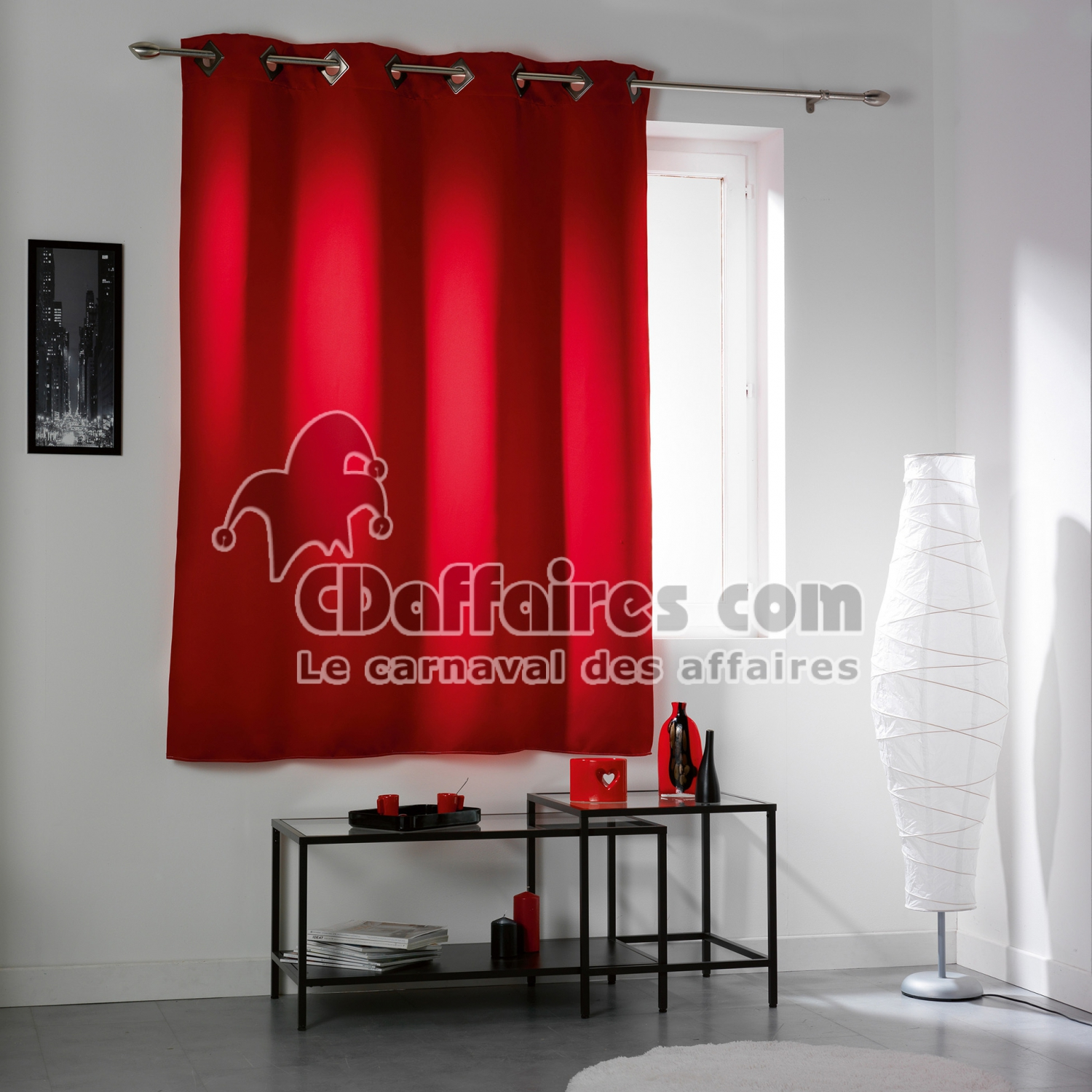 rideau a oeillets carres 140 x 180 cm occultant uni cocoon rouge cdaffaires. Black Bedroom Furniture Sets. Home Design Ideas