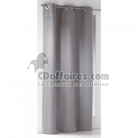 rideau a oeillets carres 140 x 240 cm suede uni suedine gris clair cdaffaires. Black Bedroom Furniture Sets. Home Design Ideas