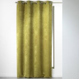 Rideau a oeillets carres 140 x 240 cm velours uni cabaret Kaki