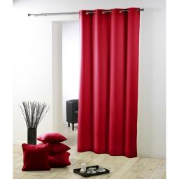 Rideau a oeillets metal 140 x 260 cm polyester uni essentiel Rouge
