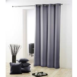 Rideau a oeillets metal 140 x 280 cm polyester uni essentiel Beton