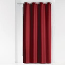 Rideau a oeillets metal 140 x 280 cm polyester uni essentiel Bordeaux