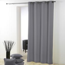 Rideau a oeillets metal 140 x 280 cm polyester uni essentiel Gris