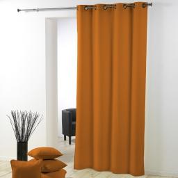Rideau a oeillets metal 140 x 280 cm polyester uni essentiel Mandarine