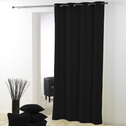 Rideau a oeillets metal 140 x 280 cm polyester uni essentiel Noir