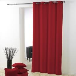 Rideau a oeillets metal 140 x 280 cm polyester uni essentiel Rouge