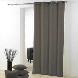 Rideau a oeillets metal 140 x 280 cm polyester uni essentiel Taupe