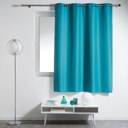 Rideau a oeillets plastique 140 x 180 cm polyester uni essentiel Bleu