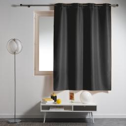 Rideau a oeillets plastique 140 x 180 cm polyester uni essentiel Noir