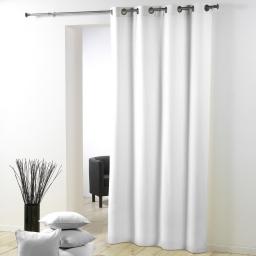 Rideau a oeillets plastique 140 x 260 cm polyester uni essentiel Blanc