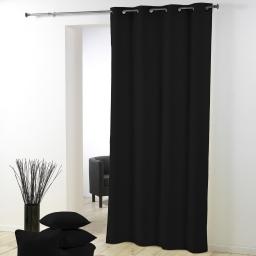 Rideau a oeillets plastique 140 x 260 cm polyester uni essentiel Noir